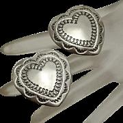 Large Sterling Silver Andy Cadman Navajo Indian Stamped Heart Earrings