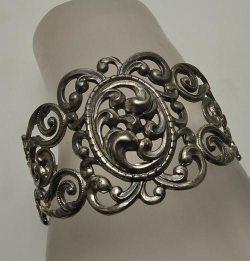 Vintage  Wide Danecraft Sterling Silver  Repousse Filigree Open Work Cuff Bracelet