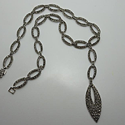Quality Vintage 925 Sterling Silver Marcasite Necklace