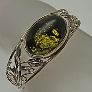 Lovely Vintage Green Amber Sterling Silver Bracelet