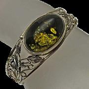 Lovely Vintage Green Amber Sterling Silver Bracelet