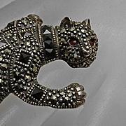Fine Vintage Sterling Silver Onyx Garnet Marcasite Wild Cat Pin Leopard