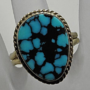 Vintage Native American Sterling Silver Turquoise Ring Size 11 1/2