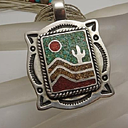 Carolyn Pollack Southwest Liquid Sterling Silver Coral Turquoise Inlay Necklace