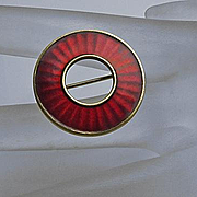 Vintage Sterling Silver Enamel Norway Circle Pin Einar Modahl Red
