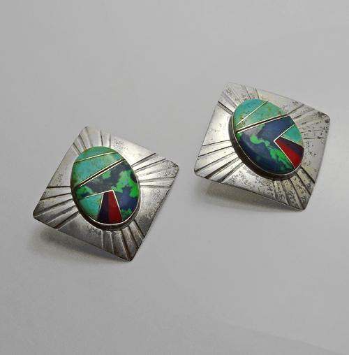 Large Vintage Navajo Indian Sterling Silver Stone Inlay Pierced Earrings Signed FM Fred Maloney Turquoise Coral