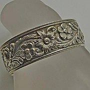 S. Kirk & Son Sterling Silver Floral Repousse Cuff Bracelet
