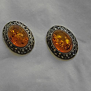 Petite Sterling Silver Amber Earrings