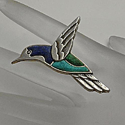 Carolyn Pollack Sterling  Turquoise Lapis Bird Pin