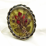 Sterling Silver Pressed Dried Flower  Necklace Pendant Pin Mexican Taxco