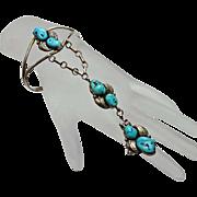 Vintage Navajo Indian Turquoise Sterling Silver Slave Bracelet Ring