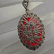 Sterling Silver Red Plique A Jour Marcasite Pendant Necklace