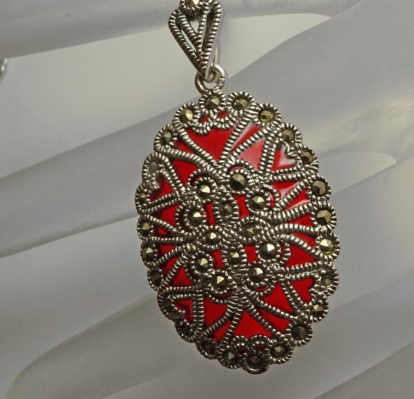 Sterling Silver Red Plique A Jour Marcasite Pendant Necklace