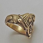 Vintage Art Deco Egyptian Revival 1920s Sphinx 10K Gold Diamond Ring