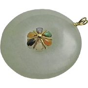 Large 14K Gold Multi Jade Necklace Pendant