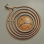 Vintage LeCoultre Le Coultre Mixed Metal Modernistic Watch Pendant