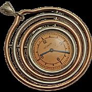 Vintage LeCoultre Le Coultre Mixed Metal Modernistic Watch Pendant