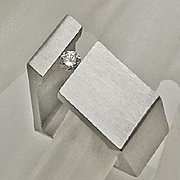 Modernistic Stainless Steel Diamond Ring