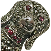 Sterling Silver Marcasite Dog Pin