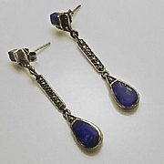 Long  Sterling Silver Lapis Lazuli and Marcasite  Earrings