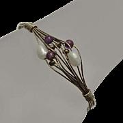 Artisan Wire Wrap Bracelet Sterling Silver Amethyst Fresh Water Pearl