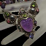 Stunning Sajen Sterling Silver Gemstone Fresh Water Pearl Amethyst Necklace