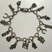 Vintage Old South American Charm Bracelet