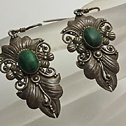 Vintage Sterling Silver Floral Malachite Earrings