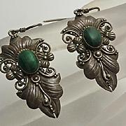 Vintage Sterling Silver Floral Malachite Earrings