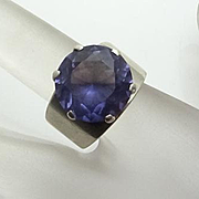 Vintage Color Changing Gemstone Sterling Silver Mexican Ring Size 6 1/2