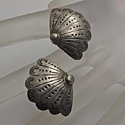 Vintage Native American Indian Sterling Silver Fan Earrings