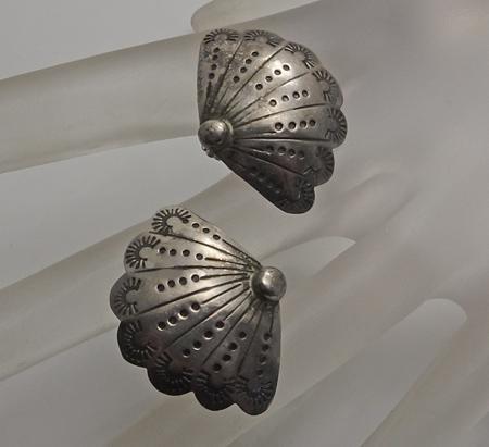 Vintage Native American Indian Sterling Silver Fan Earrings