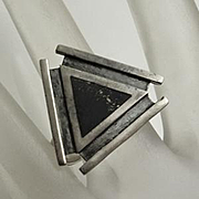 Vintage Modernist Sterling Silver Black Stone Ring Size 10