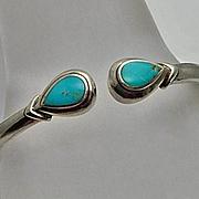 Sterling Silver Turquoise Hinged Bangle Bracelet