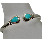 Sterling Silver Turquoise Hinged Bangle Bracelet