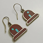Zuni American Indian Ethel Peina Inlay Pipestone Turquoise Sterling Silver Earrings