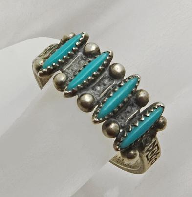 Vintage  Bell Trading Post Needlepoint Turquoise Sterling Silver Ring Size 8 and 1/2