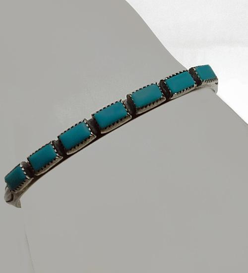 Vintage Native American Indian Turquoise Sterling Silver Cuff Bracelet