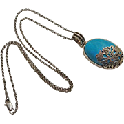 Sterling Silver Turquoise Floral Flower Overlay Pendant Necklace
