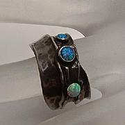 Vintage Sterling Silver Artisan Opal Modernist Ring
