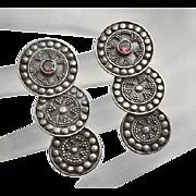Vintage Sterling Silver Amethyst Drop Disc Earrings