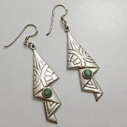 Unique Long Sterling Silver Malachite Earrings
