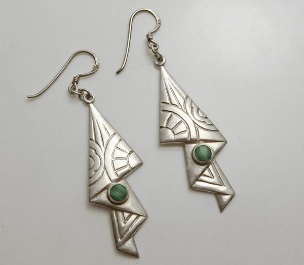 Unique Long Sterling Silver Malachite Earrings