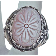 Carolyn Pollack Relios Sterling Silver Mother of Pearl Flower Butterfly Ring Size  8
