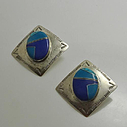 Large Vintage Navajo Indian Sterling Silver Stone Inlay Pierced Earrings Signed FM Fred Maloney Turquoise