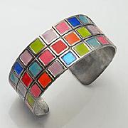 Vibrant Colorful Sterling Silver Enamel Cuff Bracelet