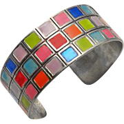 Vibrant Colorful Sterling Silver Enamel Cuff Bracelet