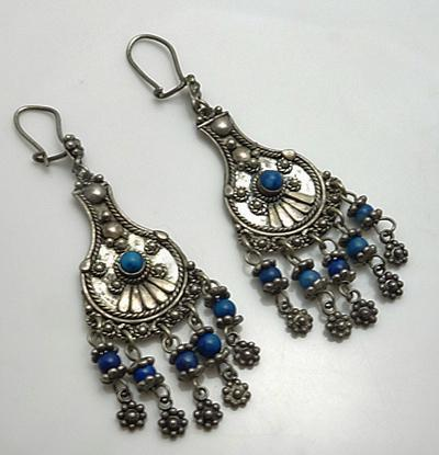 Long Vintage Sterling Silver Lapis Earrings