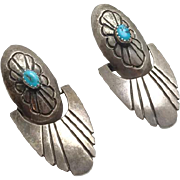 Long Vintage Sterling Silver Native American Indian Turquoise Earrings