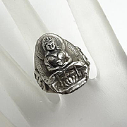 Vintage Ornate Sterling Silver Buddha Ring Size 7 and 1/2
